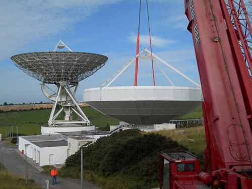 Construction of a Eutelsat Tooway antenna at the National Space Centre's Earth Station in Elfordstown, Co Cork